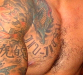 Ricardo Arona Jiu JItsu Script Tattoo, Chest