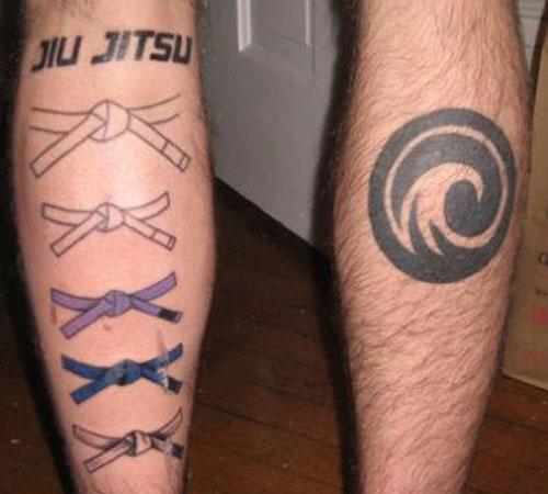 BJJ Belts Calf Tattoo